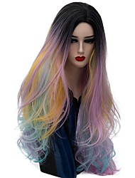 cheap -Women Synthetic Wig Capless Long Natural Wave Rose Gold Ombre Hair Natural Wig Party Wig Halloween Wig Carnival Wig Costume Wigs