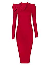 Damen Bodycon Kleid-Ausgehen Solide Rundhalsausschnitt Midi Mini Ärmellos Polyester Frühling Herbst Hohe Hüfthöhe Dehnbar Mittel