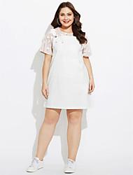 Women's Work Sheath Dress,Solid Check V Neck Knee-length Above Knee Short Sleeves Cotton Linen Spring Mid Rise Micro-elastic Medium