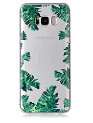 cheap -Case For Samsung Galaxy S8 S8 Plus Case Cover Green Leaves Pattern Feel Varnish Relief High Penetration TPU Material Phone Case For Galaxy S7 S7 Edge