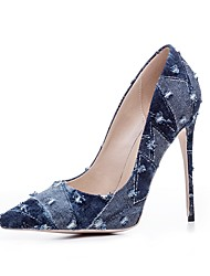 cheap -Women's Shoes Denim Spring Summer Basic Pump Heels Stiletto Heel Pointed Toe Ruffles For Party & Evening Dress Light Blue Dark Blue Black