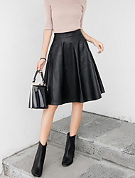 Women's Going out Casual/Daily Knee-length Skirts,Street chic A Line Swing Solid Fall Winter