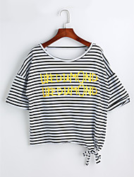 cheap -Women's Casual Cotton T-shirt - Solid Colored Striped Letter