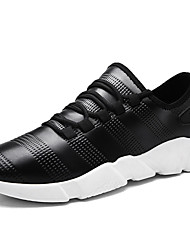 Men's Athletic Shoes Comfort Spring Fall PU Walking Shoes Casual Lace-up Flat Heel White Black Black/White 2in-2 3/4in