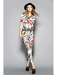cheap -ANGEL Women's Daily Going out Sophisticated Summer T-shirt Pant Suits,Print V Neck Short Sleeve Polyester