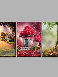 House of Mushrooms 3 Panels Hand-painted Oil Paintings on Canvas Modern Artwork Wall Art for Room Decoration 20x28inchx3
