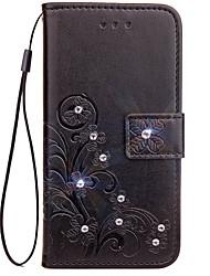 Недорогие -Кейс для Назначение LG G3 / LG / LG G4 LG G6 Кошелек / Бумажник для карт / Стразы Чехол Однотонный Твердый Кожа PU