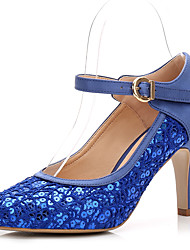 Women's Wedding Shoes Basic Pump Spring Fall Lace Paillette Silk Wedding Dress Party & Evening Buckle Gore Cone Heel White Royal Blue