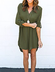 cheap -Women's Cotton Loose Dress - Solid Colored V Neck / Summer