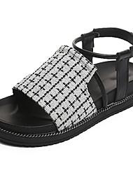 Da donna Sandali Comoda Tessuto Estate Casual Footing A quadri Basso Bianco Nero 5 - 7 cm