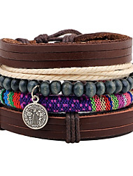 cheap -Men's Leather Leather Bracelet Wrap Bracelet Strand Bracelet - Personalized Adjustable Round Brown Bracelet For Christmas Gift Stage