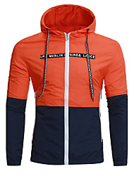 cheap -Men's Sports Simple Casual Plus Size Jacket-Color Block Hooded