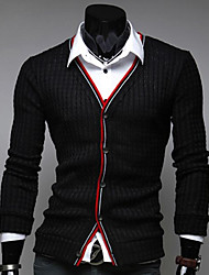 Men's Daily Casual Regular Cardigan,Solid Striped V Neck Long Sleeves Cotton Spring Fall Medium Micro-elastic