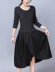 Women's Plus Size Going out Simple Slim Thin A Line Sweater Dress Patchwork Pleated Asymmetrical Long Sleeves Fall Winter