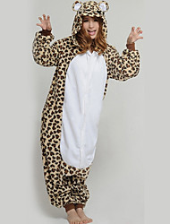 Kigurumi Pajamas Leopard Leotard/Onesie Festival/Holiday Animal Sleepwear Halloween Animal Leopard Flannelette Kigurumi For Couples Unisex