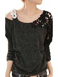 cheap -Women's Off The Shoulder Blue/Pink/Black T-shirt,Casual Asymmetrical Long Sleeve Beaded/Lace