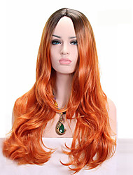 cheap -Synthetic Wigs Orange Ombre Dark Root Synthetic Wigs Long Wavy  Heat Resistant Fiber Hairstyle For Female