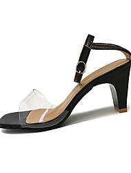 preiswerte -Damen Sandalen Komfort Pumps PU Frühling Sommer Kleid Party & Festivität Schnalle Blockabsatz Weiß Schwarz 5 - 7 cm