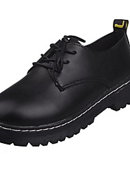 Women's Oxfords Comfort Spring Summer PU Casual Dress Lace-up Flat Heel White Black 1in-1 3/4in