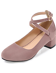 Women's Heels Comfort Light Soles Summer Fall Leatherette Casual Dress Buckle Chunky Heel Black Beige Gray Blushing Pink 1in-1 3/4in