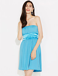 cheap -Women's Beach Holiday Cotton A Line Dress - Solid Colored Mini Strapless