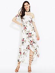 abordables -Mujer Playa Noche Vaina Vestido - Espalda al Aire Separado, Floral Tiro Alto Maxi Escote Barco Blanco