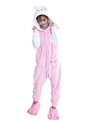cheap -Kigurumi Pajama Cat Costume Onesie Pajama Flannel Fabric Cosplay For Adults' Animal Sleepwear Christmas Festival / Holiday