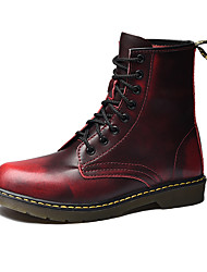 cheap -Men's Shoes Leather Winter Fall Combat Boots Boots Mid-Calf Boots Lace-up for Casual Office & Career Outdoor Black Coffee Wine