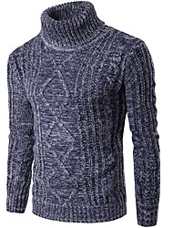 Men's Going out Casual/Daily Regular Pullover,Solid Turtleneck Long Sleeve Cotton Spandex Fall Winter Thick Stretchy