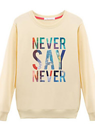 cheap -Women's Going out Street chic Cotton Sweatshirt - Solid Colored / Letter / Fall / Winter