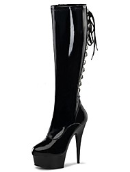 Women's Boots Fashion Boots Winter PU Party & Evening Zipper Stiletto Heel Black Gray 5in & over