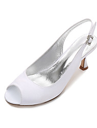 cheap -Women's Wedding Shoes Comfort Basic Pump Spring Summer Satin Wedding Dress Party & Evening Rhinestone Sparkling Glitter Low Heel Kitten
