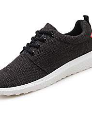 Men's Sneakers Comfort Spring Fall Linen Casual Outdoor Lace-up Flat Heel White Black Beige Flat