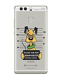 cheap -Case For Huawei P9 / Huawei P9 Lite / Huawei P8 Transparent / Pattern Back Cover Dog / Word / Phrase Soft TPU for P10 Plus / P10 Lite / P10 / Huawei P9 Plus / Mate 9 Pro