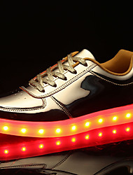 Men's Shoes PU Spring Fall Comfort Sneakers Lace-up LED For Casual Gold Silver
