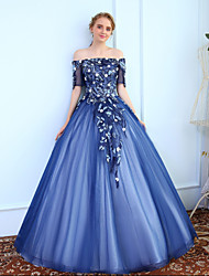 Ball Gown Off-the-shoulder Floor Length Tulle Prom Formal Evening Dress with Beading Lace by SG