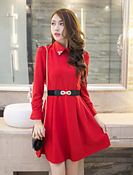 cheap -Women's Daily Skater Dress,Solid Shirt Collar Above Knee Long Sleeves Polyester Fall High Rise Inelastic Thin