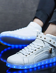 cheap -Men's Shoes PU Spring Fall Comfort Sneakers Lace-up LED For Casual White Black Red