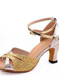 cheap -Non Customizable Women's Dance Shoes Sandals Latin Paillette Chunky Heel Indoor Gold/Silver/Red/Blue