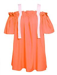 abordables -Mujer Vaina Vestido Trabajo Un Color Bloques Con Tirantes Hasta la Rodilla Sobre la rodilla Manga Corta Algodón Primavera Tiro Medio