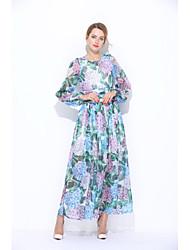 Feminino Solto Bainha Vestido,Para Noite Casual Simples Fofo Floral Decote Redondo Longo Manga Longa Seda Verão Cintura Média