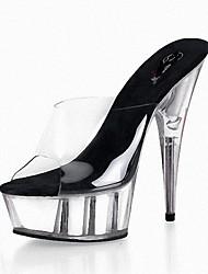 preiswerte -Damen Schuhe Spitze PVC Sommer formale Schuhe Sandalen Stöckelabsatz Peep Toe Kristall Blume für Kleid Party & Festivität Weiß Grün