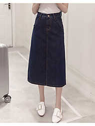 Women's Casual/Daily Midi Skirts A Line Solid Summer