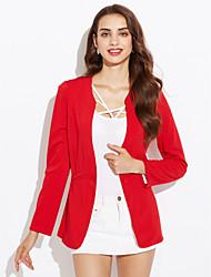 Недорогие -Для женщин На каждый день Весна Осень Костюм Рубашечный воротник,Простой Однотонный Обычная Длинный рукав,Полиэстер