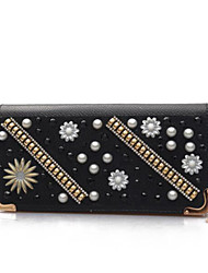 Women Checkbook Wallet PU All Seasons Casual Round Snap Gold Black Silver
