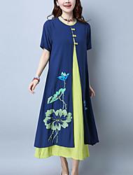 Ample Robe Femme Décontracté / Quotidien Chinoiserie,Fleur Col Arrondi Maxi Manches Courtes Coton Eté Taille Normale Non Elastique Moyen