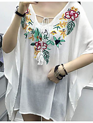 cheap -Women's Daily Going out Casual Blouse,Floral Deep V Half Sleeves Silk Cotton Rayon