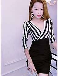 Women's Work Sheath Dress,Striped V Neck Above Knee Long Sleeves Polyester Spring High Rise Micro-elastic Thin