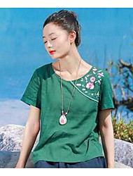 Women's Casual/Daily Simple T-shirt,Solid Embroidery Round Neck Short Sleeves Cotton Linen