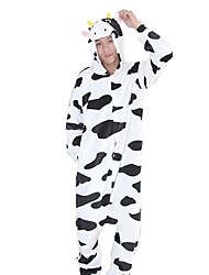 cheap -Kigurumi Pajamas Milk Cow Onesie Pajamas Costume Flannel Fabric Black/White Cosplay For Animal Sleepwear Cartoon Halloween Festival /